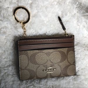 Coach leather mini ID keychain